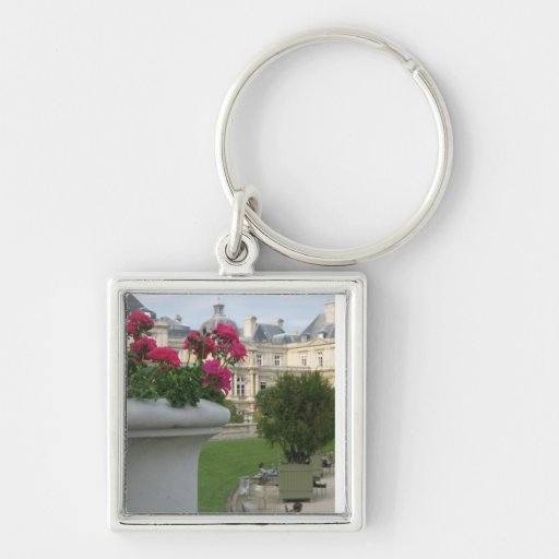 Jardin du Luxembourg Silver-Colored Square Keychain