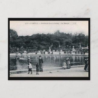 Jardin du Luxembourg, Paris, France Vintage postcard