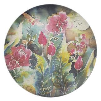 Jardín elegante de flores plato para fiesta
