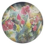 Jardín elegante de flores plato de comida