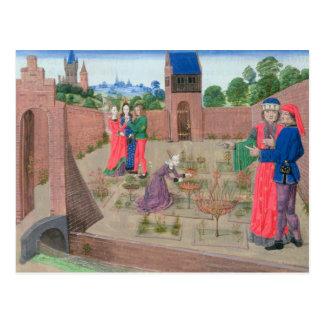 Jardín emparedado con cultivar un huerto de la tarjetas postales