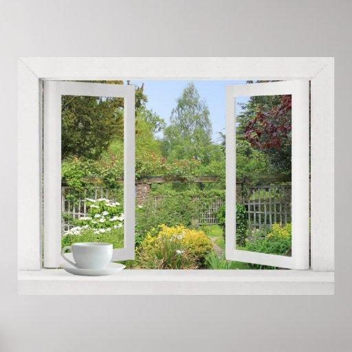 Jardín emparedado - ventana abierta sobre las flor póster