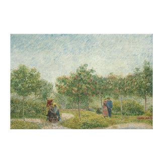 Jardín en Montmartre con los amantes Impresión En Lienzo