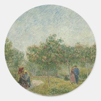 Jardín en Montmartre con los amantes Pegatina Redonda
