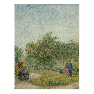 Jardín en Montmartre con los amantes Postal