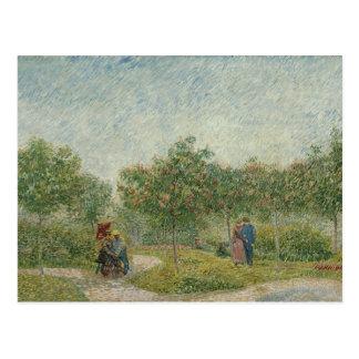 Jardín en Montmartre con los amantes Tarjetas Postales
