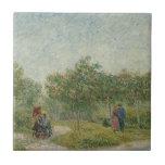 Jardín en Montmartre con los amantes Tejas