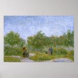 Jardín en Montmartre con los amantes, Vincent van  Impresiones