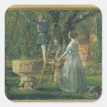 Jardín en Ringsted con un bautismal antiguo Pegatina Cuadrada