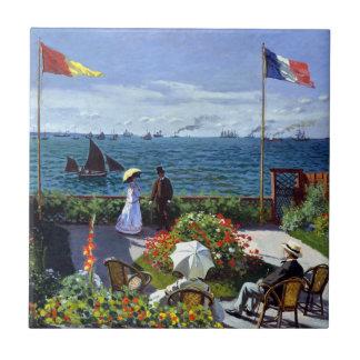 Jardín en Sainte-Adresse de Claude Monet Azulejo Cuadrado Pequeño