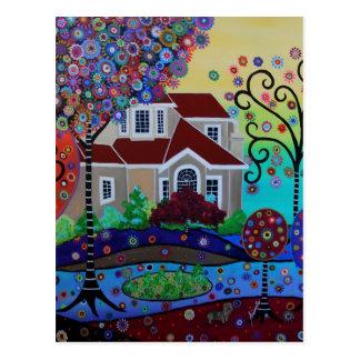 Jardín feliz caprichoso del verano del Milo Tarjetas Postales