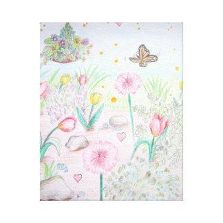 Jardín floral de la primavera lona estirada galerías