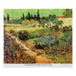 Jardín floreciente con la trayectoria de Vincent v Póster