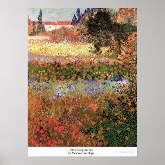 Jardín floreciente de Vincent van Gogh Póster