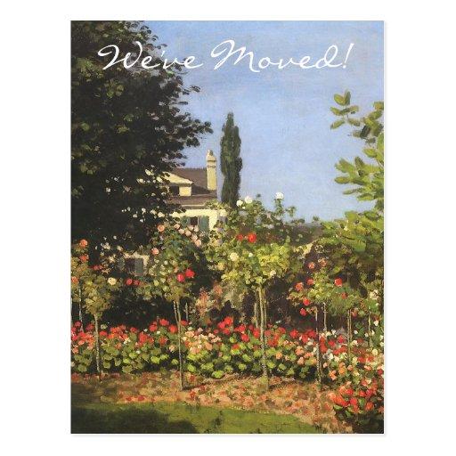 Jardín floreciente por el cambio de Claude Monet Postal