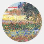 Jardín floreciente, Vincent van Gogh Etiqueta Redonda