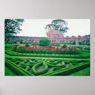 Jardín, flores del castillo de Edzell Póster