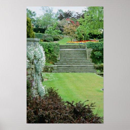 Jardín formal rojo - Arabis, Aubretia, Wallflowers Póster