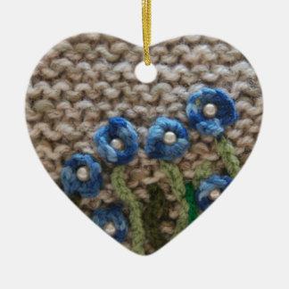 jardín hecho punto adorno navideño de cerámica en forma de corazón