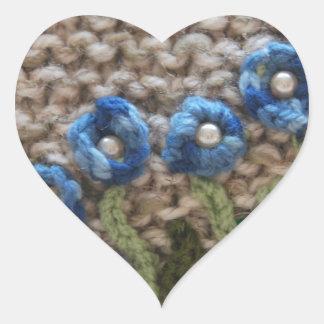jardín hecho punto pegatina en forma de corazón