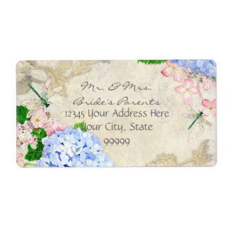 Jardín inglés, acuarela rosada azul de los etiquetas de envío