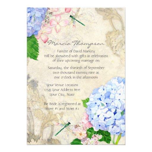 Jardín inglés, acuarela rosada azul de los Hydrang Anuncios Personalizados