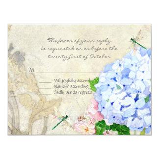 """Jardín inglés, acuarela rosada azul de los invitación 4.25"""" x 5.5"""""""
