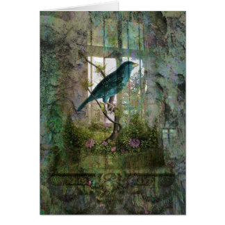 Jardín interior con el pájaro tarjeta de felicitación