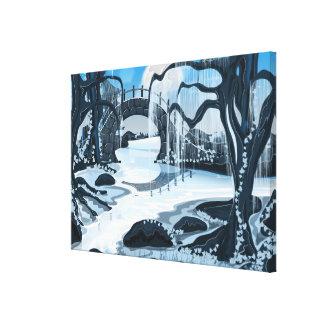 Jardín japonés de la meditación impresión en tela