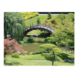 Jardín japonés en la postal de la biblioteca de