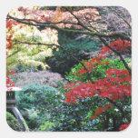 Jardín japonés pegatina cuadrada