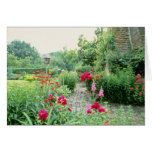 Jardín mezclado rojo de la cabaña - Peony, pelitre Tarjeta