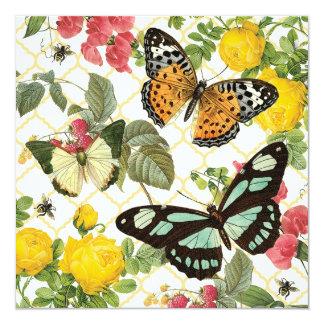 """jardín moderno de la mariposa del vintage invitación 5.25"""" x 5.25"""""""