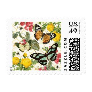 jardín moderno de la mariposa del vintage sellos