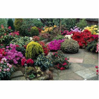 Jardín multicolor con la trayectoria esculturas fotográficas