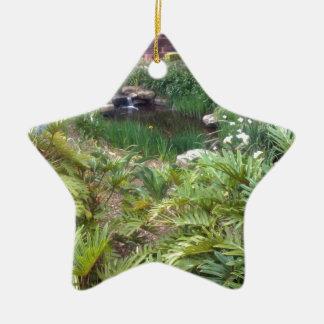 Jardín ocultado adorno navideño de cerámica en forma de estrella