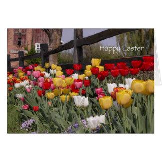 Jardín Pascua feliz del tulipán Tarjeta De Felicitación