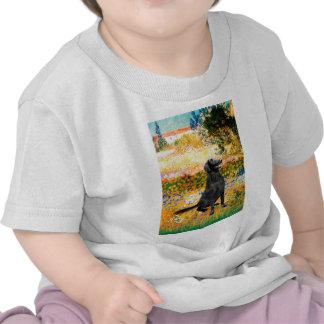 Jardín - perro perdiguero revestido plano camisetas