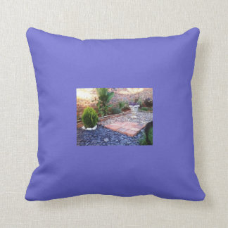 jardín, plantas de tiesto, azules cojines