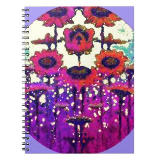 Jardín púrpura de la luna del girasol del cordón p libros de apuntes