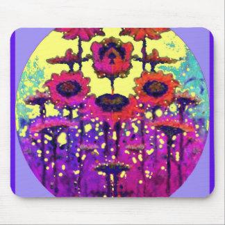 Jardín púrpura de la luna del girasol del cordón p tapete de ratones