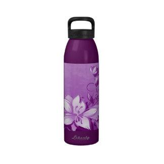 Jardín púrpura floral botella de beber