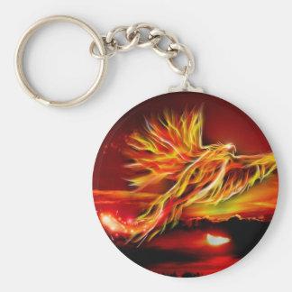 Jardín rojo ardiente de Phoenix que vuela de Tarot Llavero Redondo Tipo Pin