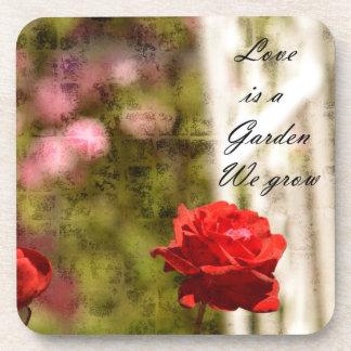 Jardín romántico de rosas posavasos