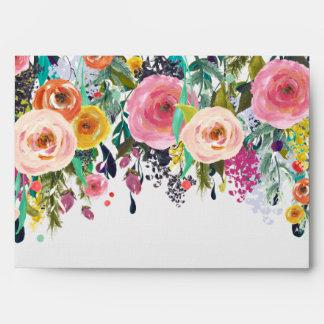 Jardín romántico floral sobre