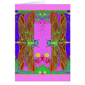 Jardín rosado de la luna de las libélulas verdes p tarjeta