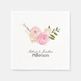 Jardín rosado romántico de la acuarela floral servilletas de papel