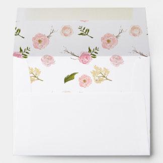 Jardín rosado romántico de la acuarela floral sobres