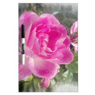 Jardín rosado subió tablero blanco