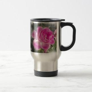 Jardín rosado subió tazas de café